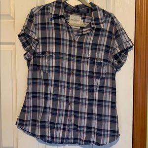 H&M Blue plaid button down shirt size 16